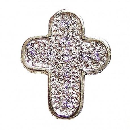 Colgante cruz oro blanco circonita [4679]