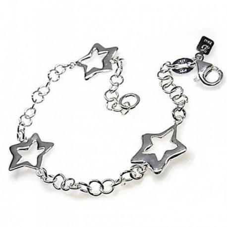 Pulsera plata Ley 925m motivo estrellas [AB4388]