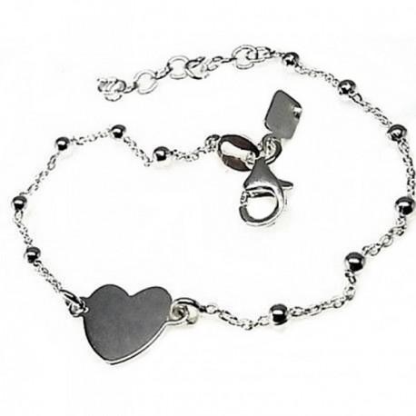 Pulsera plata Ley 925m cadena combinada bolas corazón 10 mm. [AB4391]