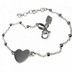 Pulsera plata Ley 925m cadena combinada bolas corazón 10mm. [AB4391GR]