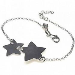 Pulsera plata Ley 925m cadena rolo motivos estrellas [AB4401GR]