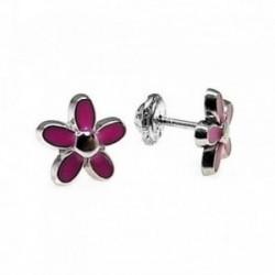 Pendientes plata Ley 925m flor esmaltado rosa [AB4404]