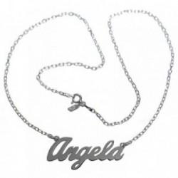 Gargantilla plata Ley 925m mujer nombre Ángela liso cadena 43cm. cierre reasa