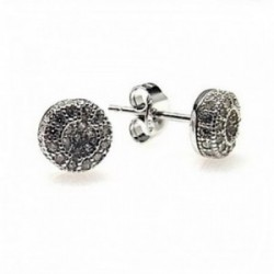 Pendientes plata Ley 925m rodiado piedras microengastadas [AB4429]