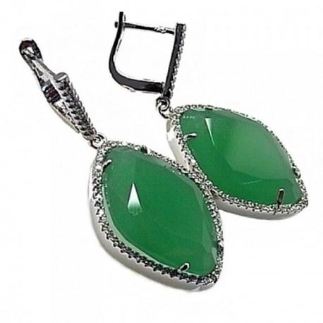 Pendientes plata Ley 925m rodiado piedra 40 mm. color verde [AB4432]