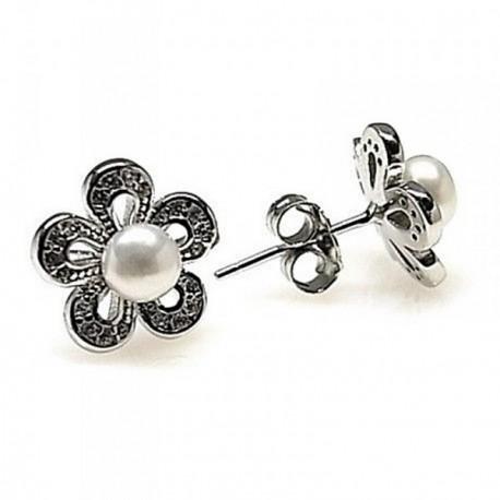 Pendientes plata Ley 925m rodiado flor piedras [AB4441]