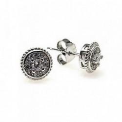 Pendientes plata Ley 925m redondos piedras microengastadas [AB4444]
