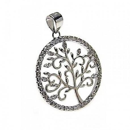 Colgante plata Ley 925m árbol vida circonitas rodiado [AB4448]