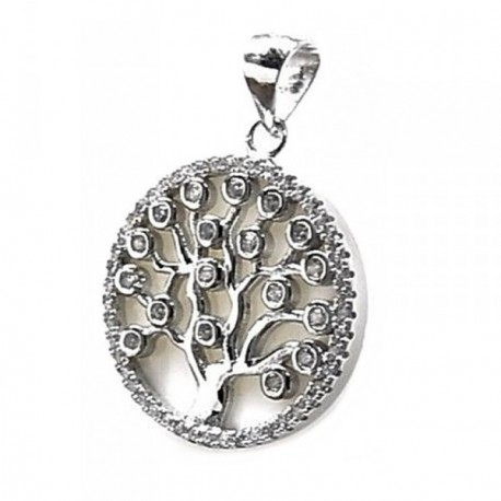 Colgante plata Ley 925m árbol vida acetato nacarado [AB4454]