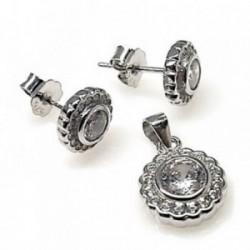 Juego plata Ley 925m rodiado piedras circonitas [AB4456]