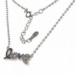 Gargantilla plata Ley 925m rodiada LOVE piedras circonitas [AB4462]