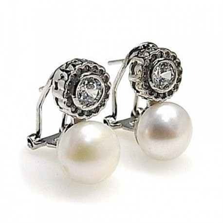 Pendientes plata Ley 925m rodiado circonita perla cultivada [AB4464]