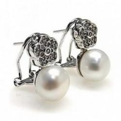 Pendientes plata Ley 925m rodiado circonitas perla cultivada [AB4465]