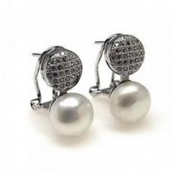 Pendientes plata Ley 925m rodiado circonitas perla cultivada [AB4466]