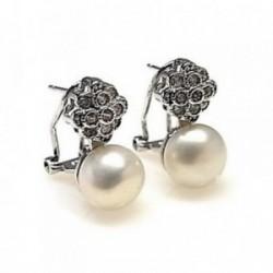 Pendientes plata Ley 925m rodiado circonitas perla cultivada [AB4467]
