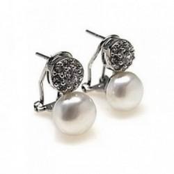 Pendientes plata Ley 925m rodiado circonitas perla cultivada [AB4468]