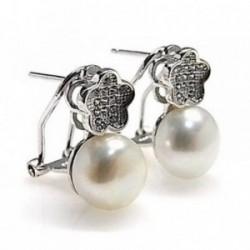 Pendientes plata Ley 925m rodiado circonitas perla cultivada [AB4469]