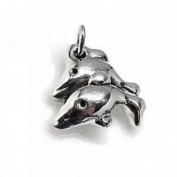 Colgante plata Ley 925m delfines electroforming [AB4474]