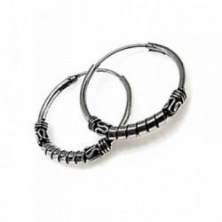 Pendientes plata Ley 925m aro estilo bali motivos oxidados [AB4488]
