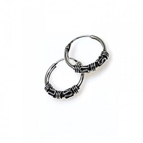 Pendientes plata Ley 925m aro estilo bali motivos oxidados [AB4490]