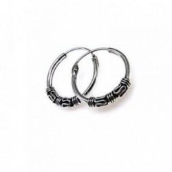 Pendientes plata Ley 925m aro estilo bali motivos oxidados [AB4491]