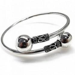 Brazalete plata Ley 925m estilo bali motivos oxidados bolas [AB4504]
