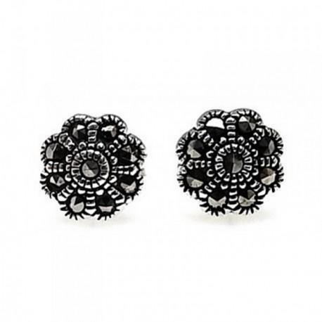 Pendientes plata Ley 925m motivo flor piedras marquesitas [AB4509]