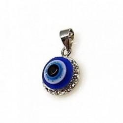 Colgante plata Ley 925m ojo turco piedras [AB4544]
