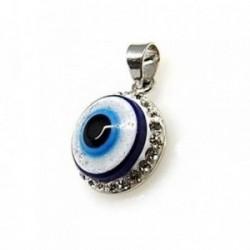 Colgante plata Ley 925m ojo turco piedras [AB4545]