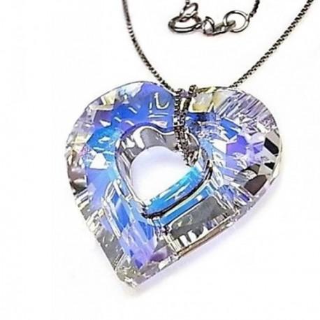 Gargantilla plata Ley 925m corazón piedra Swarovski element [AB4549]