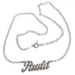 Gargantilla plata Ley 925m mujer nombre Paula liso cadena 43cm. cierre reasa
