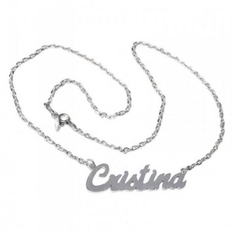 Gargantilla plata Ley 925m mujer nombre Cristina liso cadena 44cm. cierre reasa