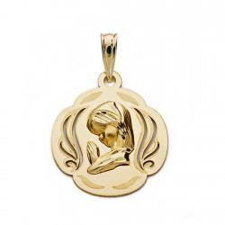 Medalla oro 9k Virgen Nina calada 18mm. [AA0728GR]