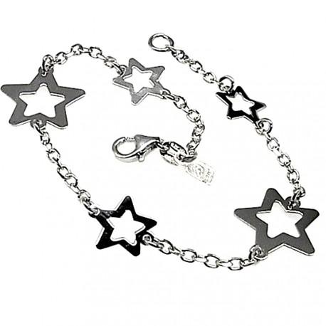Pulsera plata Ley 925m cadena motivos estrellas [AB4285]