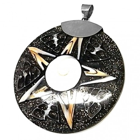 Colgante plata Ley 925m concha motivo estrella [AB4279]