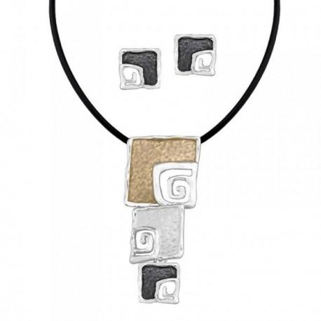 Conjunto ANTONELLI CRUISE bronce gargantilla pendientes [AB4567]