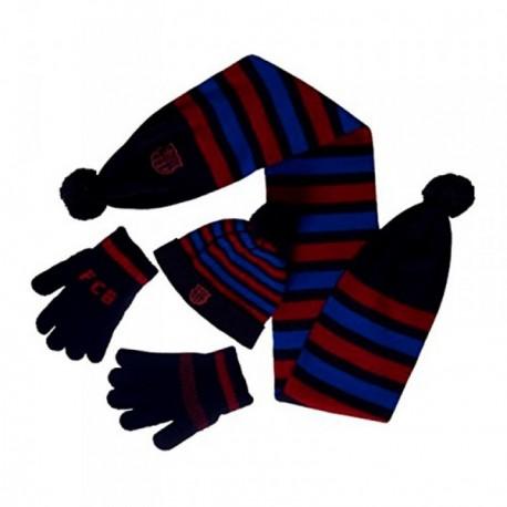 Set conjunto F.C. Barcelona guantes bufanda gorro infantil [AB4875]