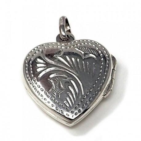 Colgante guardapelo plata Ley 925m forma corazón [AB4891]