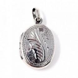 Colgante guardapelo plata Ley 925m forma oval [AB4890]