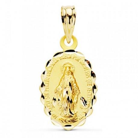 Medalla oro 9k Virgen Milagrosa 18mm. [AB4922]