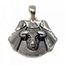 Colgante plata Ley 925m capote torero cabeza toro[AB4906]