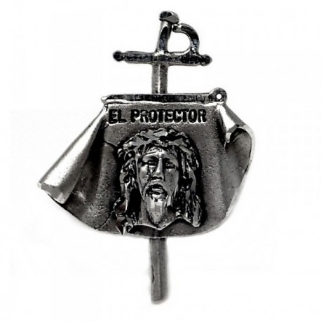 Pin plata Ley 925m capote Cristo El Protector 27.7mm. unisex cruz torero