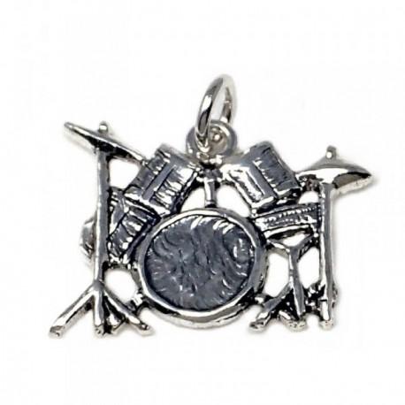 Colgante plata Ley 925m motivo batería música [AB4917]