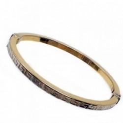 Pulsera oro 18k bicolor aro rígida greca oval [AB4931]