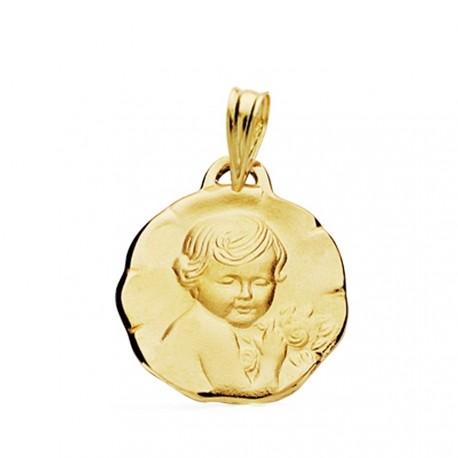 Medalla oro 18k Niño de la flor 17mm. [AB3834]