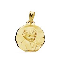 Medalla oro 18k Niño de la flor 17mm. [AB3834GR]
