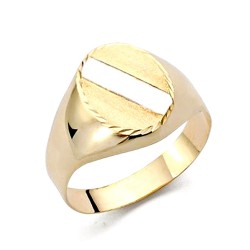 Sello oro 18k bicolor banda tallada oval hueco [AA7260]