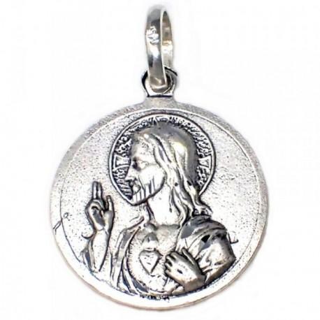 Medalla plata ley 925m Escapulario Corazón de Jesús Virgen del Carmen 21mm.