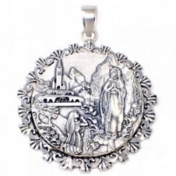 Medalla plata Ley 925m Virgen Lourdes cerco [AB4945]