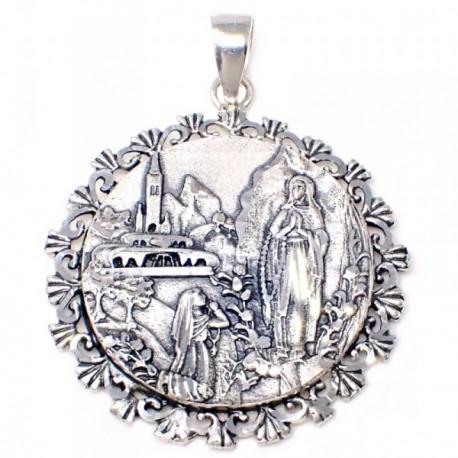 Medalla plata Ley 925m 35mm. Virgen Lourdes cerco unisex